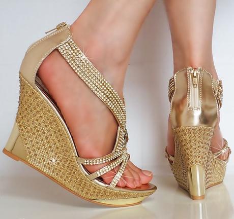 Zlaté společenské, plesové sandálky, 36-41, 37
