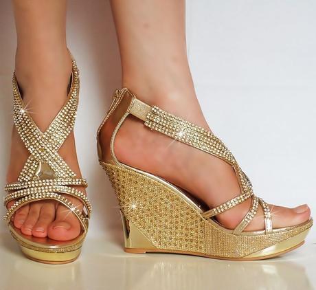 Zlaté společenské, plesové sandálky, 36-41, 41