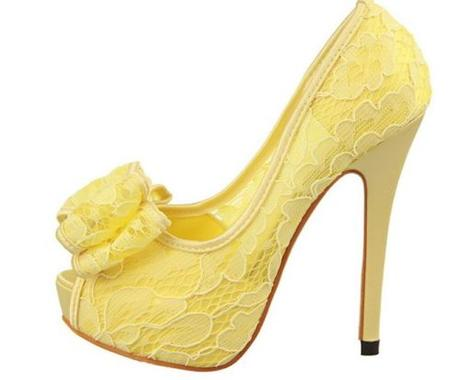 Žluté krajkové společenské lodičky, 34