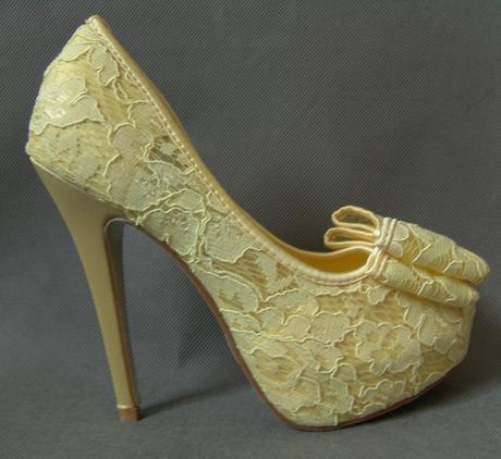 Žluté krajkové svatební, společenské lodičky, 36