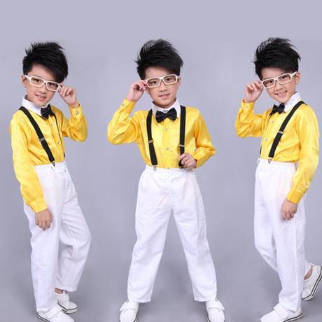 Žlutý chlapecký svatební, společenský oblek, kšand, 104