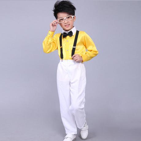 Žlutý chlapecký svatební, společenský oblek, kšand, 110