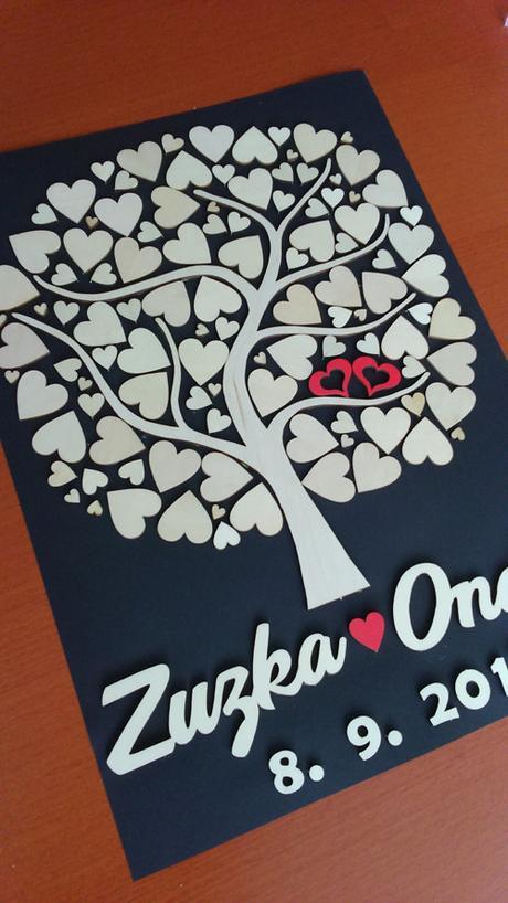 Svatební strom s 50 srdíčky ,