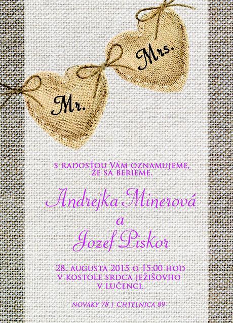Láskavé svadobné oznámenia,
