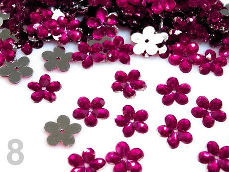 Akrylové kvetinky 11 mm-100 ks cyklaménové,