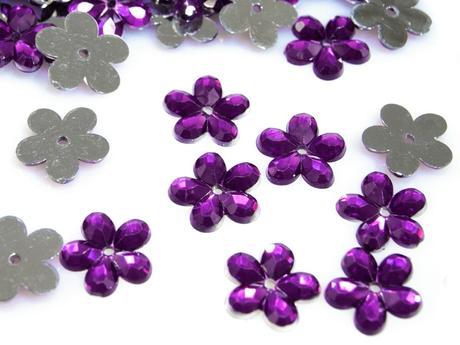 Akrylové kvetinky 11 mm-100 ks fialové,
