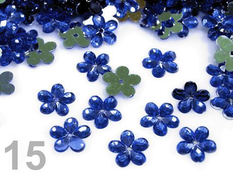 Akrylové kvetinky 11 mm-100 ks tyrkysové,