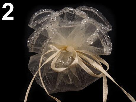 darčekové vrecká organza 22 cm šampaň,