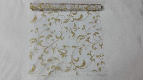 Organza glitrovana 47 cm x 5 m biela + zlatá,