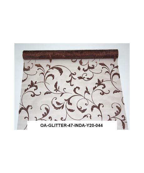 Organza glitrovana 47 cm x 5 m hnedá,