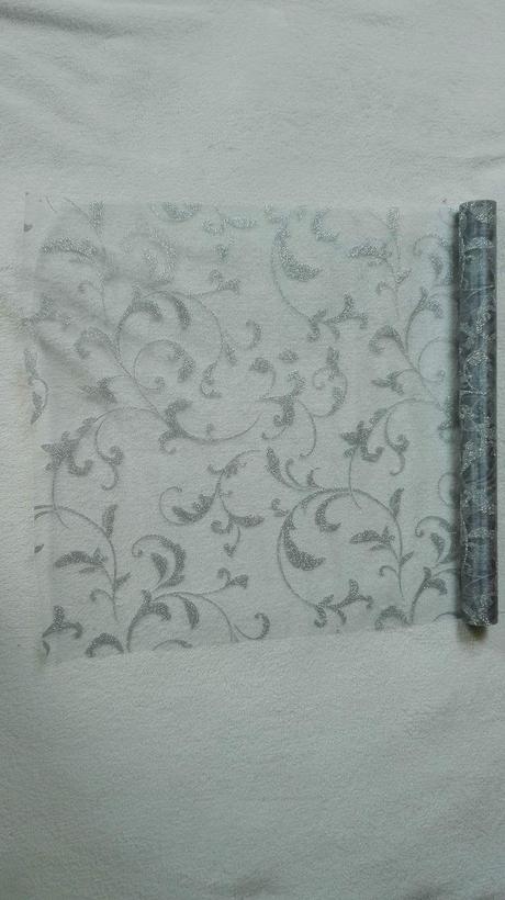 Organza glitrovana 47 cm x 5 m strieborná,