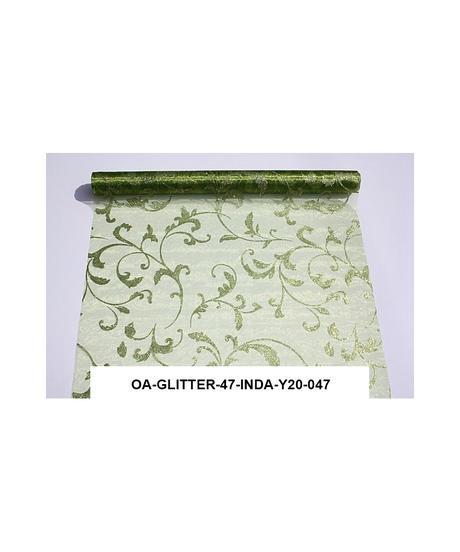 Organza glitrovana 47 cm x 5 m , zelená ,
