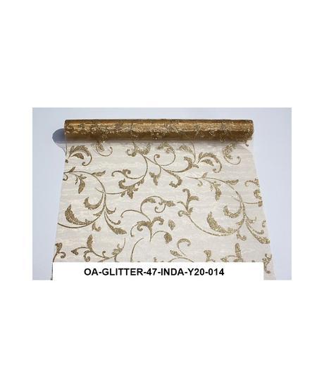 Organza glitrovana 47 cm x 5 m , zlatá,