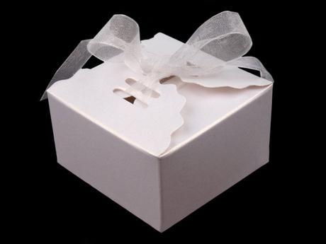 Papierová krabička 4x6,2 x 6,2 biela perleť,