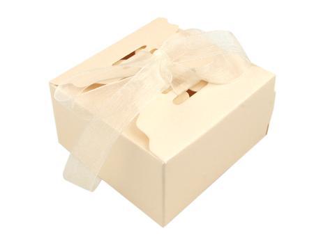 Papierová krabička 4x6,2 x 6,2 perleťová-smotanová,