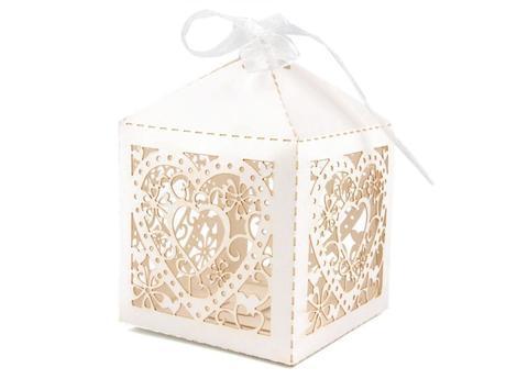 Papierová krabička 5,5 cm x 5,5 cm zo stuhou ,