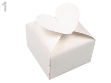 Papierová krabička perleťová 6x6x6 srdce,