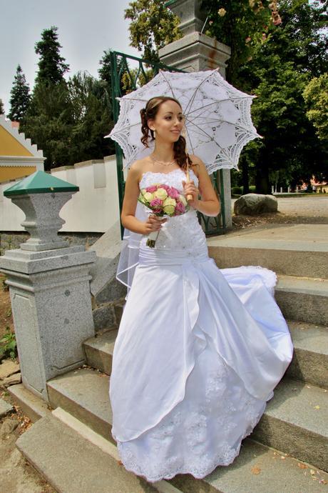 Jedinečné svatební šaty, korzetové, vel. 34-36, 34