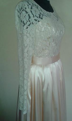 Spoločenské šaty - čipka + satén, 38