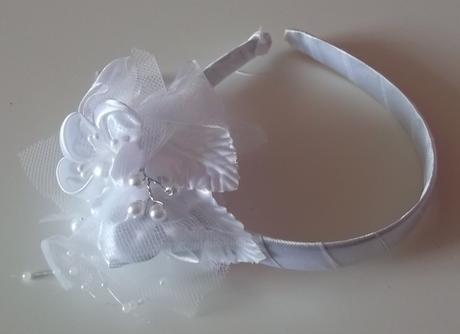 Bílá svatební čelenka,