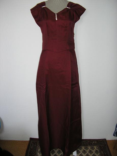 591. Bordové dlhé šaty, L