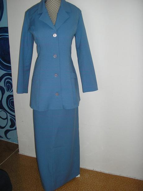 854. 2 dielne dlhé modré šaty, S