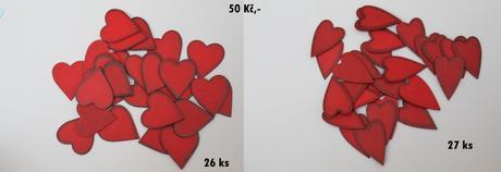 Srdíčka - dekorace na stoly,