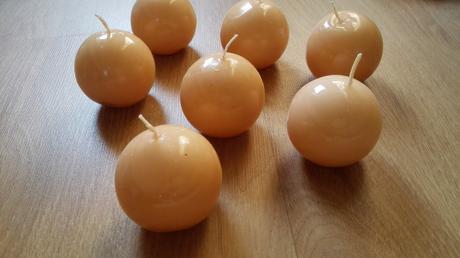 Svíčky koule broskvové/lososové 6mm,