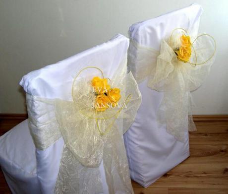 klasické svatební potahy na židle,