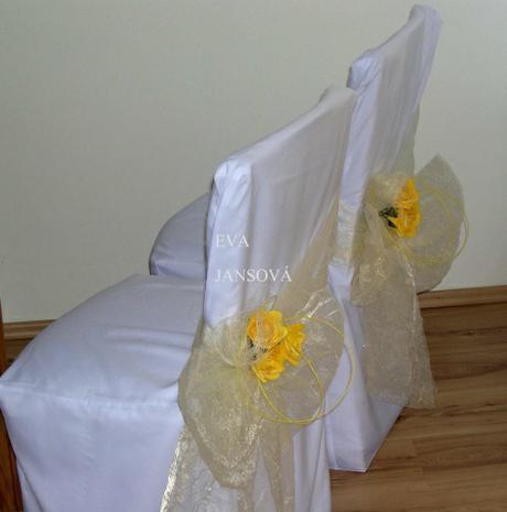 Svatební potahy na židle- na všechny typy židlí,