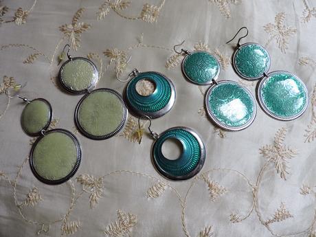 azúrovo zelené krúžky 3páry,