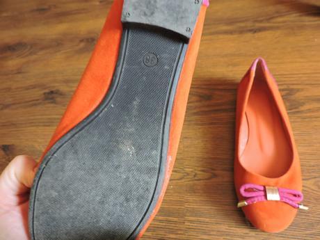 semišové oranžovo ružové baleríny, 38