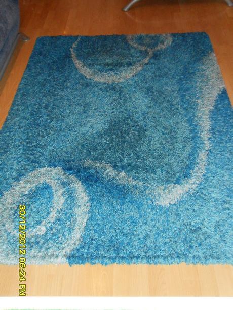 Modro-sivý koberec s vysokým vlasom Fortuna-SHAGGY,
