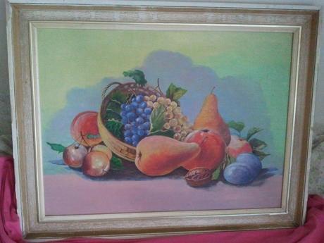 Zarámovaná maľba - ovocie - zátišie,