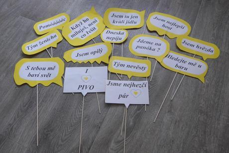 Fotorekvizity - nápisy, žlutá barva (svatba),
