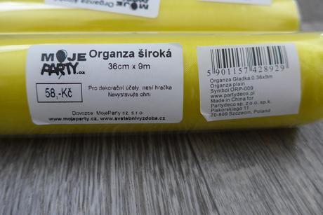 Žlutá organza - nepoužitá ,