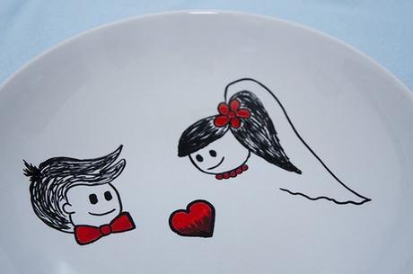 Ručně malovaný svatební talíř na přání ,