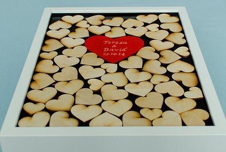Svatební kniha hostů - rám srdce bílá,