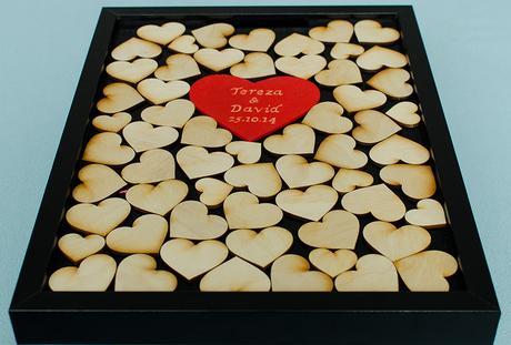 Svatební kniha hostů - rám srdce černá,