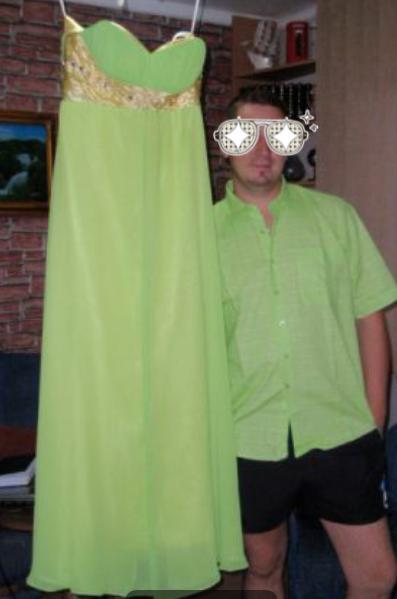 Nádherné zeleno žlté šaty, 42