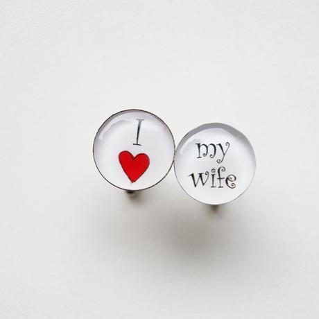 kulaté manžetové knoflíčky I love my wife,