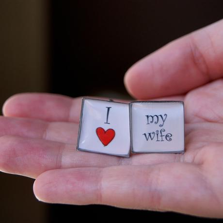 Manžetové knoflíčky I love my wife - čtverec,