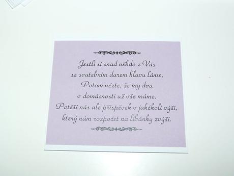Kartičky s žádostí o svatební dar,