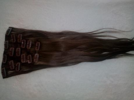 Ludske clip in vlasy - hnedé 45cm,