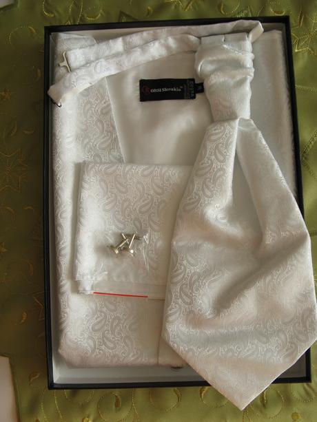 Svadobná vesta + franzúzska kravata, gombíky, 46