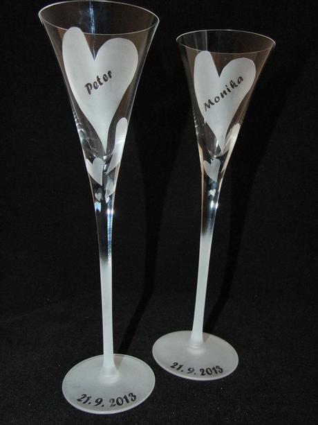 Ručne vyrobené svadobné poháre Meno zdarma,