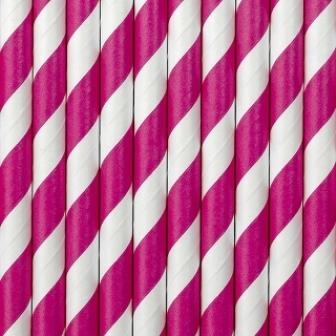Brčka - růžovobílý puntík (tmavě růžová) bal 10ks,