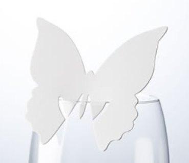 Jmenovka na skleničku - motýl - bílá,