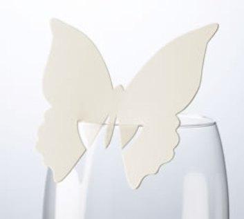 Jmenovka na skleničku - motýl - krémová VÝPRODEJ,