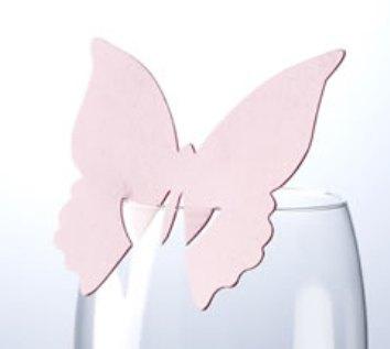 Jmenovka na skleničku - motýl - růžová VÝPRODEJ,